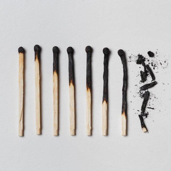 8 Burnt matchsticks arranged from burnt to ashes - Blueprint Career Development